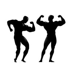 bodybuilder silhouette gym bodybuilding sport vector image vector image