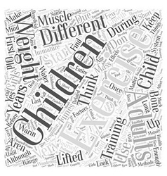 Children And Exercise Word Cloud Concept vector image vector image