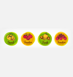 Collection of bright colored round labels for vector