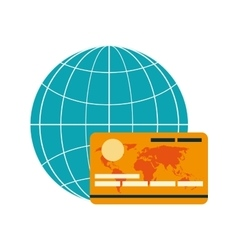 earth globe diagram and credit card icon vector image vector image