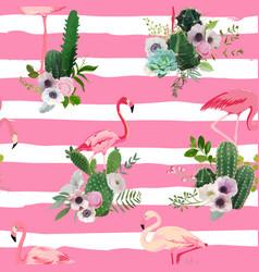 flamingo bird and tropical cactus seamless pattern vector image