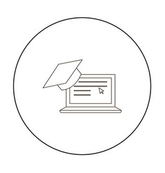 laptop icon outline single education icon from vector image