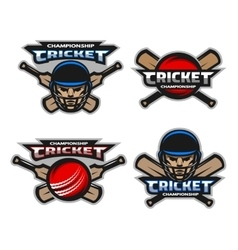 Set of cricket sports logos emblem vector image vector image