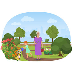 the girl watering flowers vector image vector image