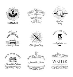 writer vintage labeles and badges set vector image vector image