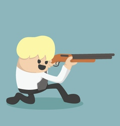 Business is holding a gun to be fired vector image