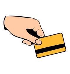 credit card in hand icon cartoon vector image vector image