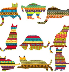 Ethnic decorative patterned cats vector image vector image