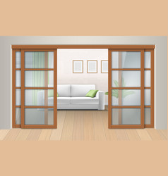 living room interior with sliding doors vector image