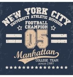 New York football vintage t-shirt graphics vector image vector image