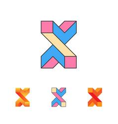 optical letter x logo templat vector image