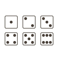 Outlined black and white dice icons vector image