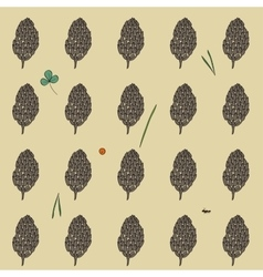 pattern with the image of the forest cones on a vector image
