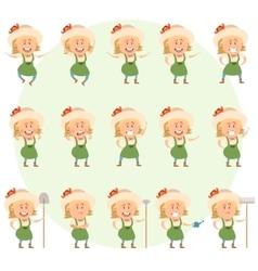 Set of gardener women flat icons vector image vector image