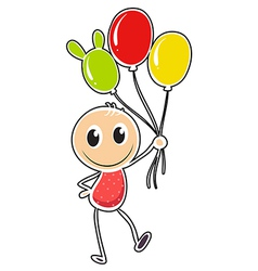 A young boy with three balloons vector image vector image