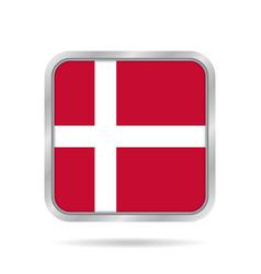 flag of denmark shiny metallic gray square button vector image vector image