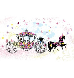 Floral Horse Carriage vector image vector image