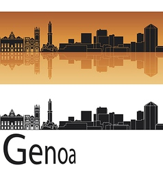 Genoa skyline in orange background vector image vector image