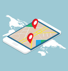 map with pin location on smartphone isometric vector image