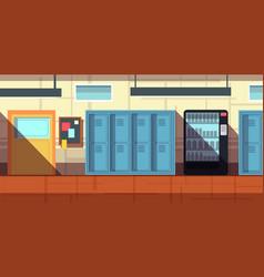 nobody school corridor interior cartoon vector image
