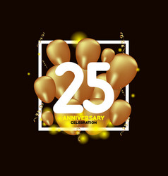 25 year anniversary white gold balloon template vector