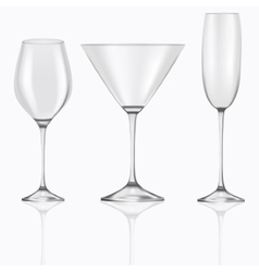 3d realistic set of empty glasses goblets for vector image