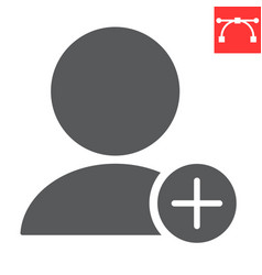 add new user glyph icon ui and button account vector image