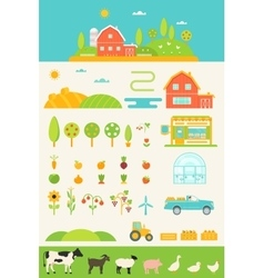 Agriculture and Farming Infographics Elements Set vector image
