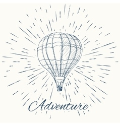 Air balloon and vintage sun burst frame adventure vector