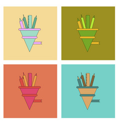 Assembly flat icons pencil pen ruler vector