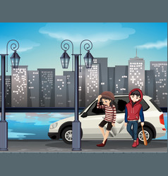 Bad street kids scene vector