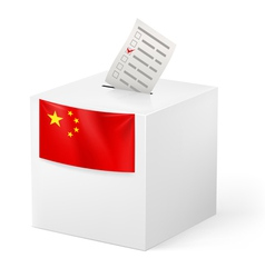 Ballot box with voting paper China vector