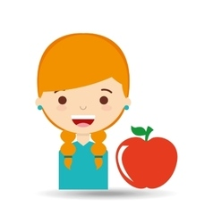 Beatiful girl blonde student apple vector
