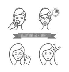 Beauty treatment icons face mask spray vector