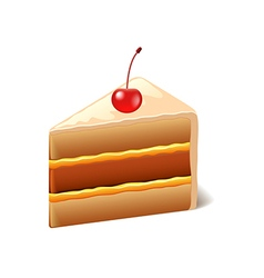 Cake with cherry isolated on white vector
