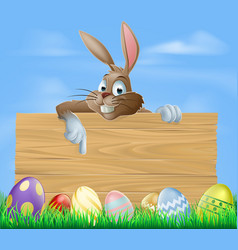 cartoon easter bunny pointing vector image