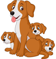 Cartoon mother dog with her cute puppies vector