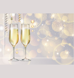 champagne glasses on holiday silver background vector image