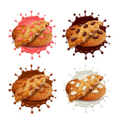 Chocolate chip cookies in milk and vector