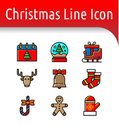 christmast line color icon vector image