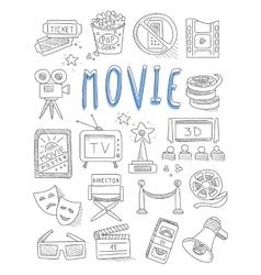 Cinema doodles set hand drawn vector