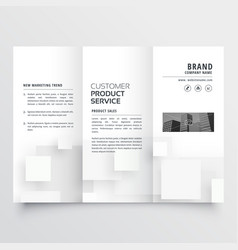 Clean minimal white trifold brochure design vector