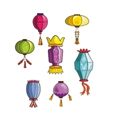 Colorful Chinese lights and lanterns different vector
