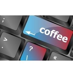 Computer keyboard keys with coffee break button vector