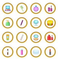 Cosmetics items icons circle vector