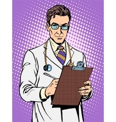 Doctor physician with stethoscope vector