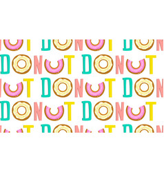 donut one word seamless pop art pattern vector image