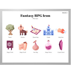 Fantasy rpg icons flat pack vector