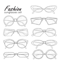 Fashion sunglasses set hand drawn glasses vector