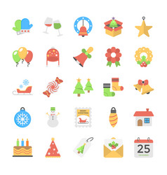 flat icons of christmas theme vector image